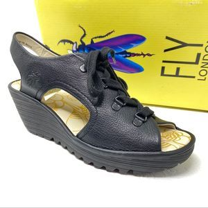 New FLY LONDON Ylfa sandals 40 9 9.5 Black lace up